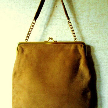 Suede Purse ginger gold leather handbag chain handle vintage 60s 70s mod disco haute hippie granny purse kiss lock clasp