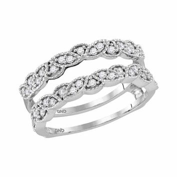 14kt White Gold Womens Round Diamond Milgrain Wrap Ring Guard Enhancer Wedding Band 1/3 Cttw