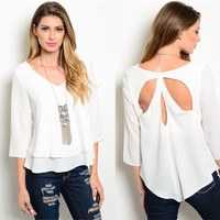 Liliana Layered Key Hole Back Top (White)