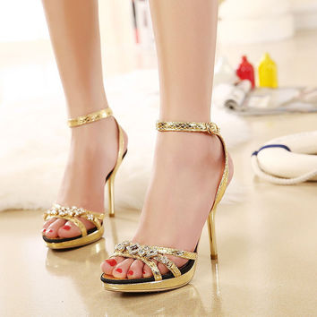 Peep Toe Rhinestone High Heel Stylish Fashion Sandals = 4805010116