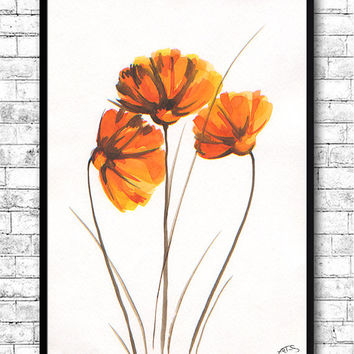 Watercolor Painting Watercolor Flower Painting Orange Flowers Modern Art Print Wall Art Poster Kitchen Wall Decor Flower Print Flower Poster