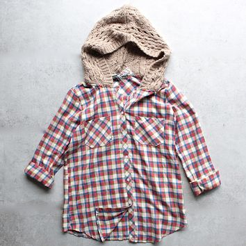 boyfriend plaid flannel shirt with knit hood - red