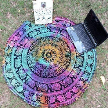 Durable Bohemian round beach towels  Beach Pool Home Shower Towel Blanket Table Cloth Mat Beach towel  from india