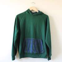 Vintage Blue Green Tartan Plaid Hooded Sweatshirt // Size MEDIUM