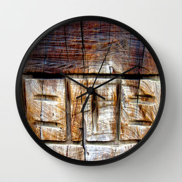 Wood Carving Wall Clock by Chris' Landscape Images of Australia | Society6