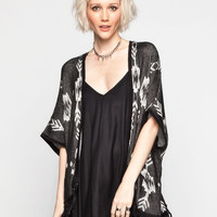 Full Tilt Womens Fringe Cardigan Poncho Black  In Sizes