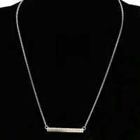 Dainty Tiny Silver White Pearl Bar Pendant Necklace & Earring Set
