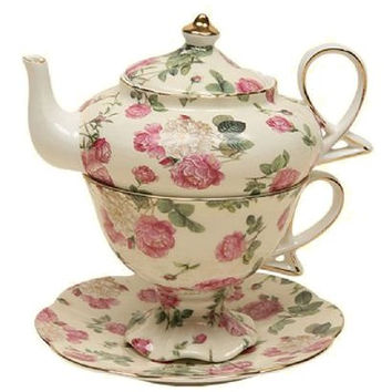 Rose Bouquet Chintz Porcelain Tea for One Set