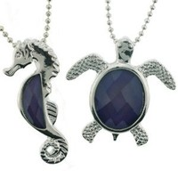Turtle and Sea Horse Mood Pendant Necklace Set in 1.5mm Ball Chain - 16 to 18'' Adjustable Necklace