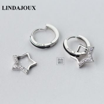 LINDAJOUX 925 Sterling Silver Pretty Zircon Filled Star Round Stud Earrings For Women S925 Silver Small Studs Earring