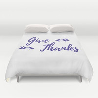 Thanksgiving Decor, Duvet Cover, Give Thanks, Arrow Decor, White and Purple, Guest Room, Modern Bedroom, Fall Home Decor, Autumn Decorations
