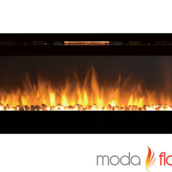 60 Inch XL Pebble Burning Wall Mounted Electric Fireplace