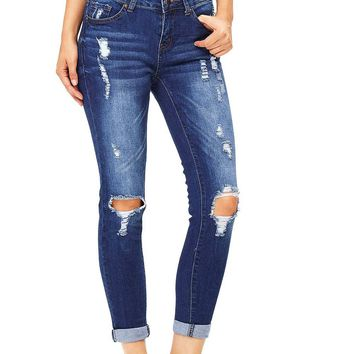 Ripped Remix Ankle Jeans