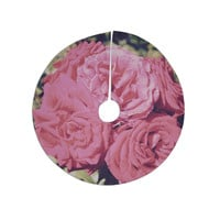 "Susan Sanders ""Blush Pink Blooming Roses"" Floral Photography Christmas Tree Skirt"