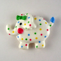 Elephant magnet - polka-dotted elephant fridge magnet, kitchen decor, refrigerator magnets, baby shower gift, cute round elephant
