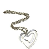 Vintage Lucite Heart Necklace on Silver Tone Chain,  Plastic Open Heart Pendant, Lucite Jewelry, Vintage Jewelry