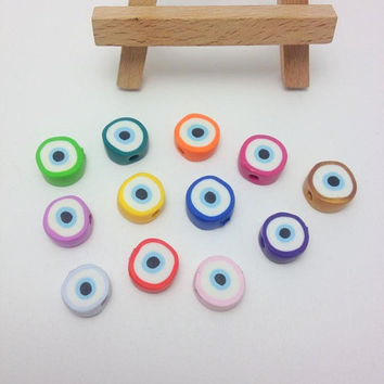 Evil Eye Beads made out of Polymer Clay, Handmade Evil Eye Beads, Baby Baptism, Favors, Wedding Accessories, Craft Supplies, Μάτι