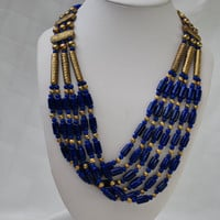 Vintage multi strand  Blue Glass and Gold Bead necklace