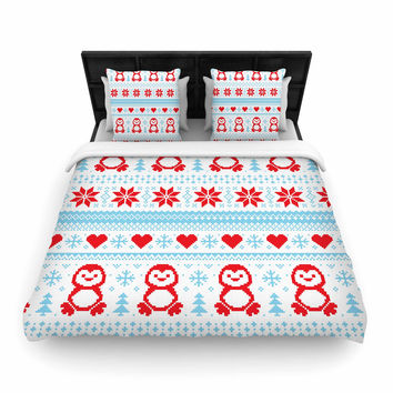 "KESS Original ""Pixel Penguin Holiday"" Christmas Pattern Woven Duvet Cover"