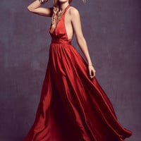 Red Halter Backless Maxi Dress - Sheinside.com