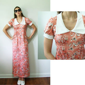 VINTAGE 1960s Coral Pink Floral Floor Length Peasant Southern Belle Dress Small