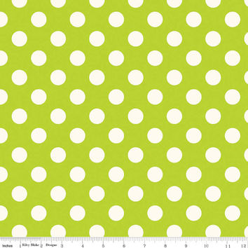 Lime Green Polka Dot Quilting Cotton Fabric, Riley Blake Designs, 1 Yard, more available