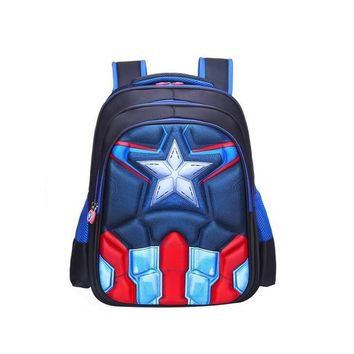 Student Backpack Children Children's Backpack Boys Captain America School Bags For Boys Girls Children Primary Students Superhero Backpacks 4 Styles AT_49_3
