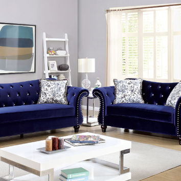 Furniture of america CM6159BL 2 pc jolanda blue flannelette fabric sofa and love seat set with tufted backs