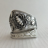 Size 10 Vintage Sterling Silver Lily Spoon Ring