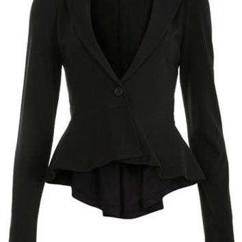 Black Jersey Peplum Blazer - View All  - Sale & Offers
