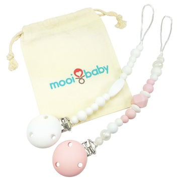 Silicone Pacifier Clip Set with Bag - Pink and White