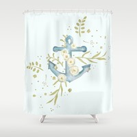 Blue anchor and flowers Shower Curtain by Jennifer Rizzo Design Company