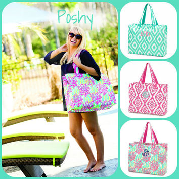 Personalized Beach tote Pool tote Gift Bridesmaids gift Vacation bag Beach Bag -Ikat Beach Bag- Aztec Beach Bag- Reef Beach Bag