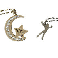 Disney Peter Pan Moon Neverland Necklace Set