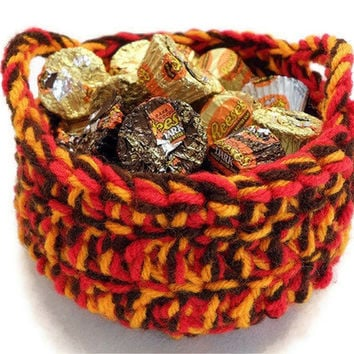Small Crochet Fall Candy Basket in Red Yellow Orange and Brown