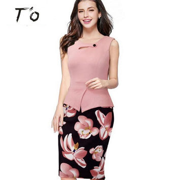 T'O  arrival Spring Summer Euro US Fashion Vestidos Print Floral Patchwork Casual Work Sleeveless Bodycon office Tunic Dress 085