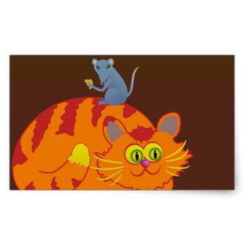 Cat & Mouse Rectangular Sticker