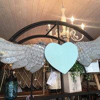 Wall Hanging Angel Wings / Baby Nursery Decor / Kids Room Bedroom Bathroom Decoration / Shabby Cottage Chic Metal Wings Photo Prop