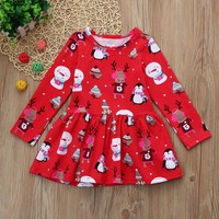 Toddler Kid Baby Girls Christmas Snowman Clothes Long Sleeve Pageant Party Princess Dress Cartoon Deer Print winter outfit wear