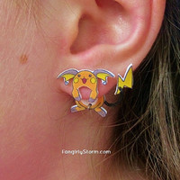 Raichu Pokemon Clinging earrings Handmade kawaii gamer two part front and back post earrings