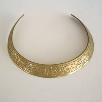 Solid Brass Collar Necklace Art Nouveau Design Vintage Jewelry