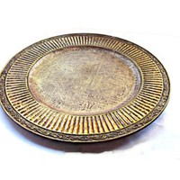 Large vintage copper plated ancient egyptian symbols wood decorative ornate plate