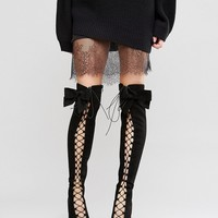ASOS KARI Bow Lace Up Over The Knee Boots