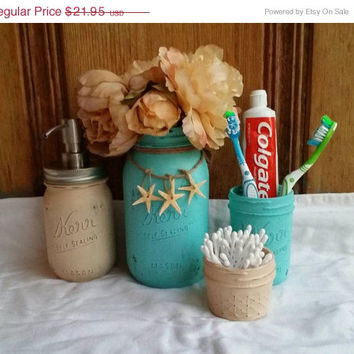 twitter 500 sale distressed mason jar set with ocean accents pool blue and sand colors great - Bathroom Set For Sale