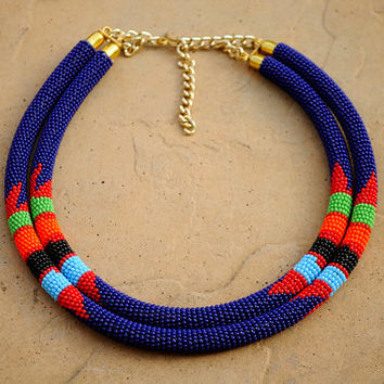 Double rope necklace,Blue African beaded necklace,Tribal necklace,Kenyan necklace,African beadwork,Zulu necklace,Masai necklace,blue beads