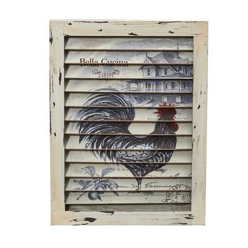 Rooster Window Shutter Wall Decor Accessories