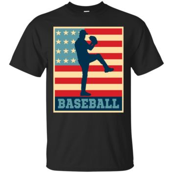Vintage And Retro American Flag Baseball Pitcher T-Shirt Hoodie