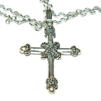 "Sterling Silver Cross Necklace, Mens Cross Necklace, 20"" Chain"