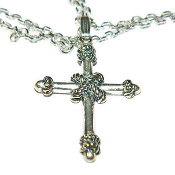 """Sterling Silver Cross Necklace, Mens Cross Necklace, 20"""" Chain"""