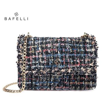 BAFELLI wool sequined bag multicolor hasp bolsos mujer simple panelled chains crossbody bag black women messenger bags